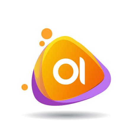 Letter OI logo in triangle splash and colorful background, letter combination logo design for creative industry, web, business and company.