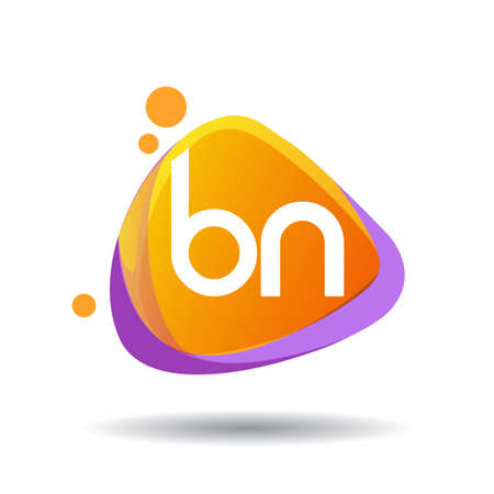 Letter BN logo in triangle splash and colorful background, letter combination logo design for creative industry, web, business and company. Logó