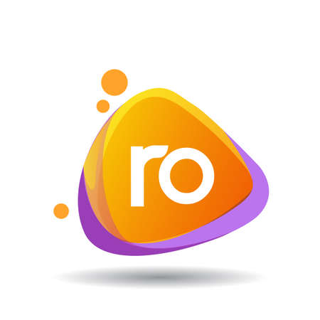 Letter RO logo in triangle splash and colorful background, letter combination logo design for creative industry, web, business and company. Logo