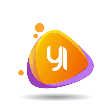 Letter YI logo in triangle splash and colorful background, letter combination logo design for creative industry, web, business and company.