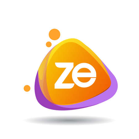 Letter ZE logo in triangle splash and colorful background, letter combination logo design for creative industry, web, business and company.