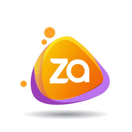 Letter ZA logo in triangle splash and colorful background, letter combination logo design for creative industry, web, business and company. Logo