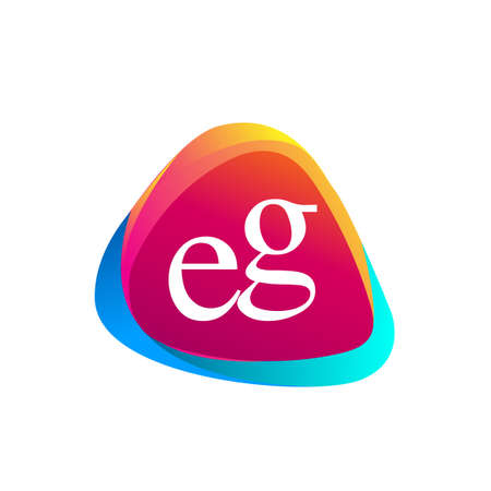 Letter EG logo in triangle shape and colorful background, letter combination logo design for company identity.