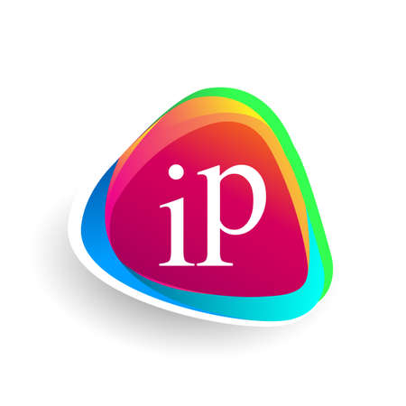 Letter IP logo in triangle shape and colorful background, letter combination logo design for company identity.