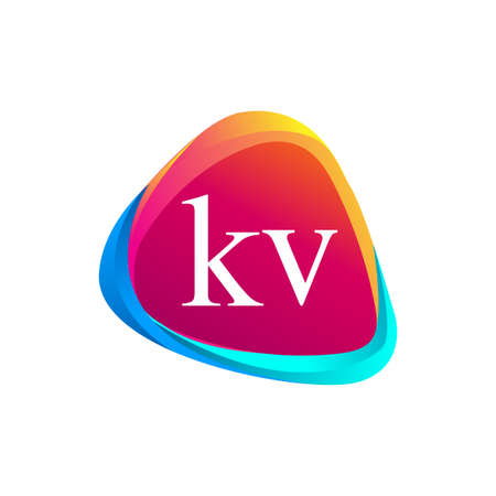 Letter KV logo in triangle shape and colorful background, letter combination logo design for company identity. Logó