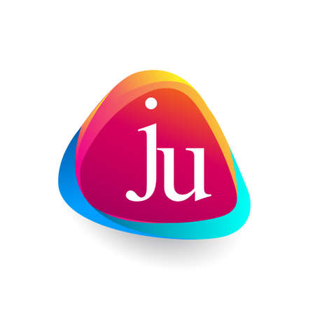 Letter JU logo in triangle shape and colorful background, letter combination logo design for company identity. 向量圖像