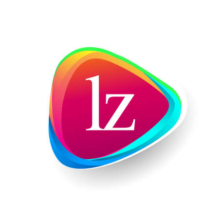 Letter LZ logo in triangle shape and colorful background, letter combination logo design for company identity. Ilustrace