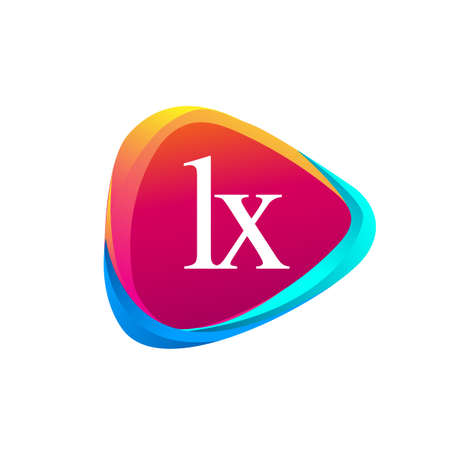 Letter LX logo in triangle shape and colorful background, letter combination logo design for company identity.