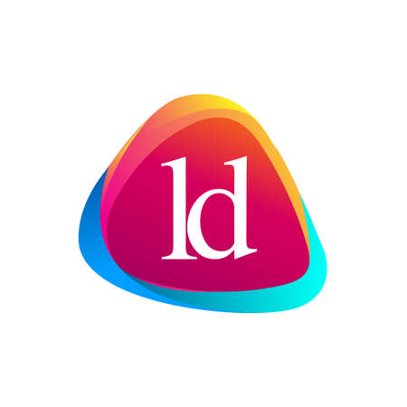 Letter LD logo in triangle shape and colorful background, letter combination logo design for company identity. Ilustrace