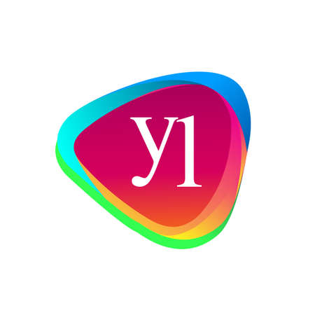 Letter YL logo in triangle shape and colorful background, letter combination logo design for company identity.