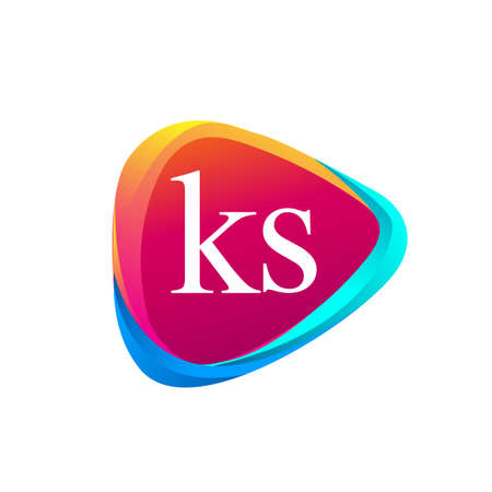 Letter KS logo in triangle shape and colorful background, letter combination logo design for company identity.