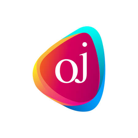 Letter OJ logo in triangle shape and colorful background, letter combination logo design for company identity. Logo