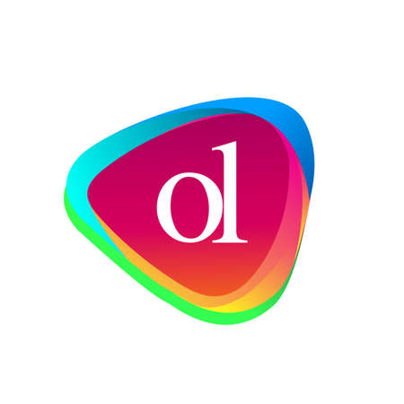 Letter OL logo in triangle shape and colorful background, letter combination logo design for company identity.