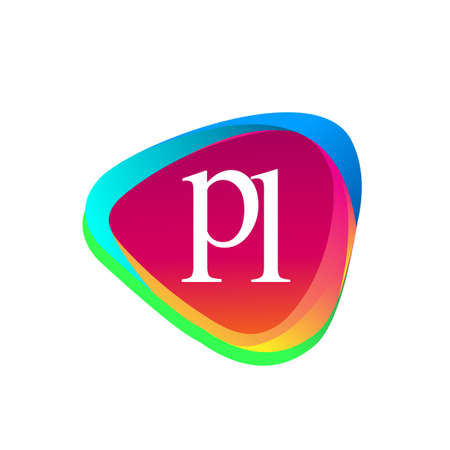 Letter PL logo in triangle shape and colorful background, letter combination logo design for company identity. Logo