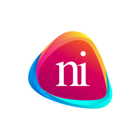 Letter NI logo in triangle shape and colorful background, letter combination logo design for company identity.