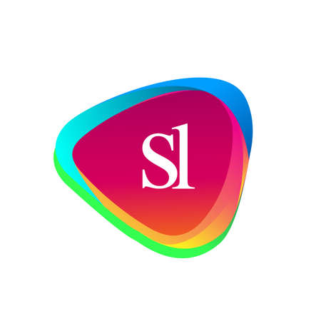 Letter SL logo in triangle shape and colorful background, letter combination logo design for company identity.