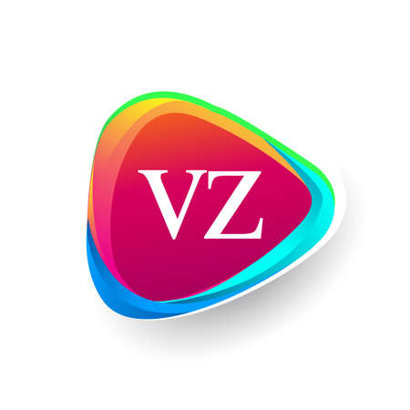 Letter VZ logo in triangle shape and colorful background, letter combination logo design for company identity.