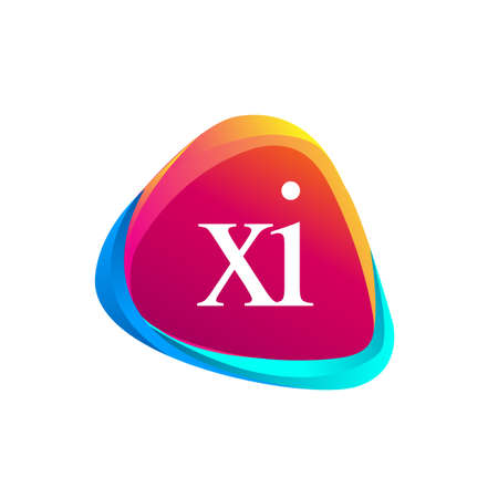 Letter XI logo in triangle shape and colorful background, letter combination logo design for company identity.
