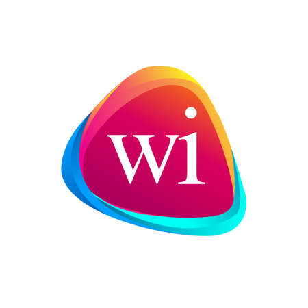 Letter WI logo in triangle shape and colorful background, letter combination logo design for company identity.