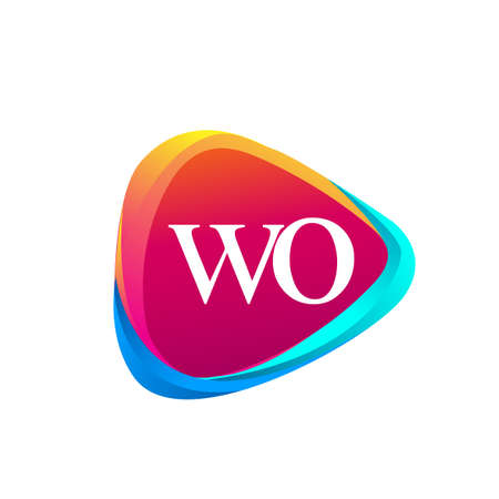 Letter WO logo in triangle shape and colorful background, letter combination logo design for company identity.