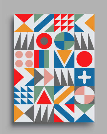 Modern geometric abstract background covers. colorful pattern geometric shapes composition, vector illustration. Vetores