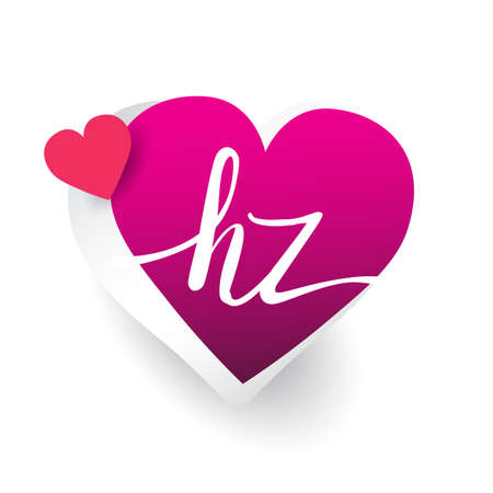initial logo letter HZ with heart shape red colored, logo design for wedding invitation, wedding name and business name. Logó
