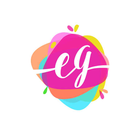 Letter EG logo with colorful splash background, letter combination logo design for creative industry, web, business and company. Logó