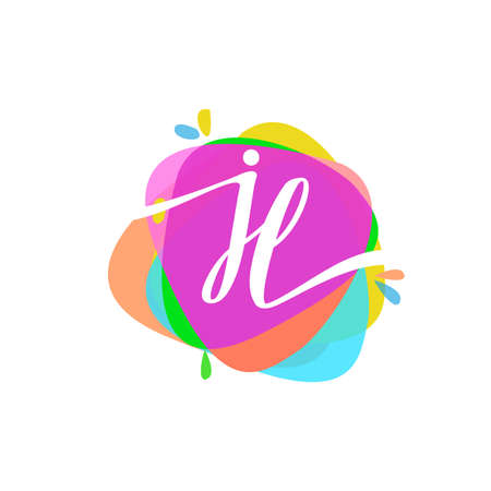 Letter JL logo with colorful splash background, letter combination logo design for creative industry, web, business and company.