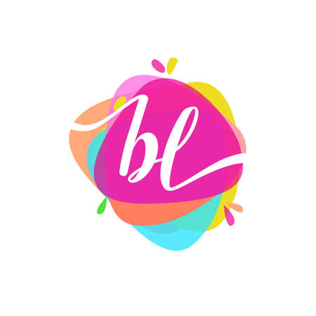 Letter BL logo with colorful splash background, letter combination logo design for creative industry, web, business and company. Logo