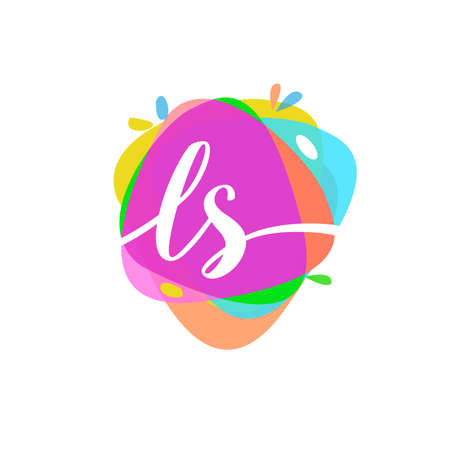Letter LS logo with colorful splash background, letter combination logo design for creative industry, web, business and company.