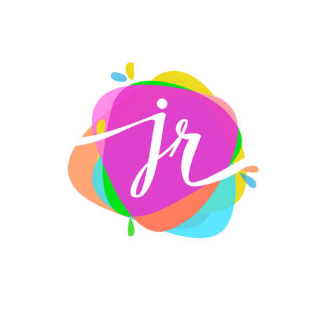 Letter JR logo with colorful splash background, letter combination logo design for creative industry, web, business and company.