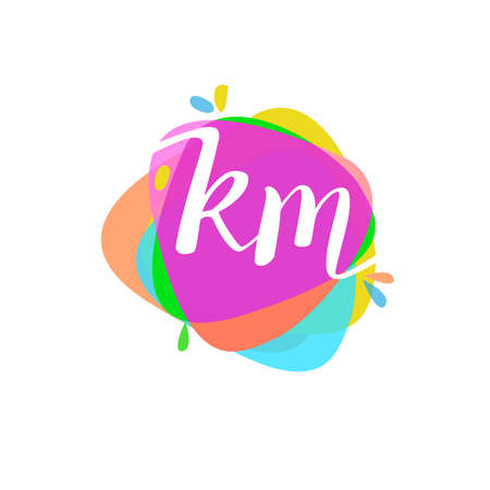 Letter KM logo with colorful splash background, letter combination logo design for creative industry, web, business and company. Logó
