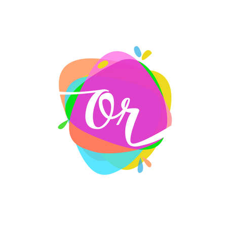 Letter OR logo with colorful splash background, letter combination logo design for creative industry, web, business and company. Logo