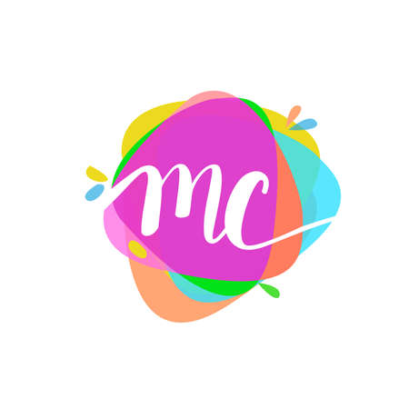 Letter MC logo with colorful splash background, letter combination logo design for creative industry, web, business and company.