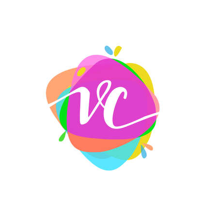 Letter VC logo with colorful splash background, letter combination logo design for creative industry, web, business and company. Illusztráció