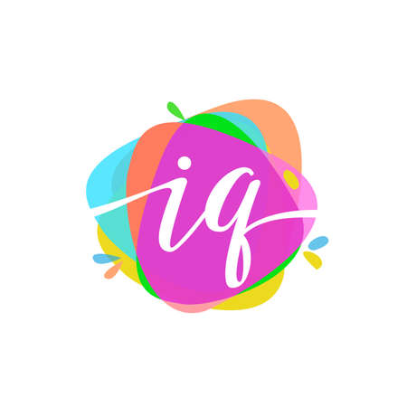 Letter IQ logo with colorful splash background, letter combination logo design for creative industry, web, business and company.