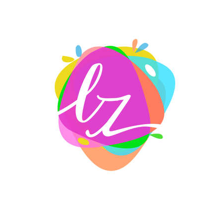 Letter LZ logo with colorful splash background, letter combination logo design for creative industry, web, business and company.
