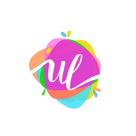 Letter UL logo with colorful splash background, letter combination logo design for creative industry, web, business and company.