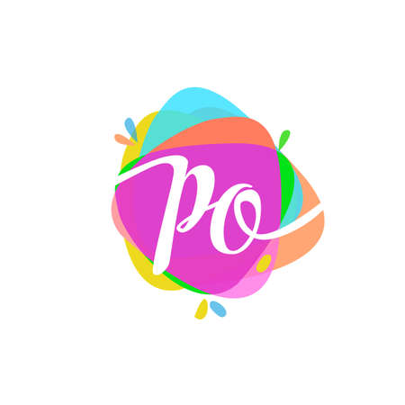 Letter PO logo with colorful splash background, letter combination logo design for creative industry, web, business and company. Logo
