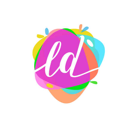 Letter LD logo with colorful splash background, letter combination logo design for creative industry, web, business and company.