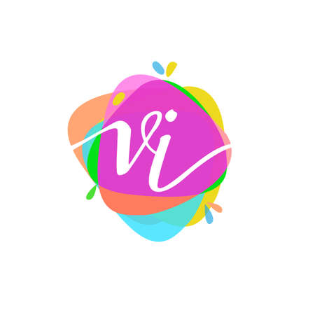 Letter VI logo with colorful splash background, letter combination logo design for creative industry, web, business and company.