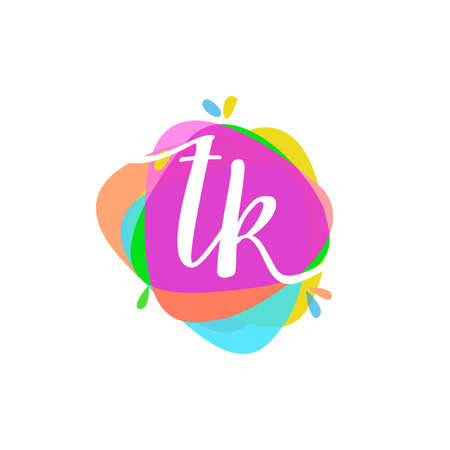 Letter TK logo with colorful splash background, letter combination logo design for creative industry, web, business and company.