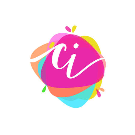 Letter CI logo with colorful splash background, letter combination logo design for creative industry, web, business and company.