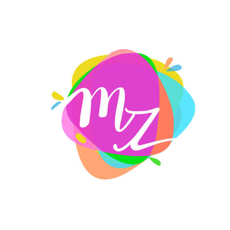 Letter MZ logo with colorful splash background, letter combination logo design for creative industry, web, business and company. Logó