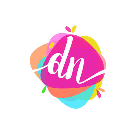 Letter DN logo with colorful splash background, letter combination logo design for creative industry, web, business and company. Logo