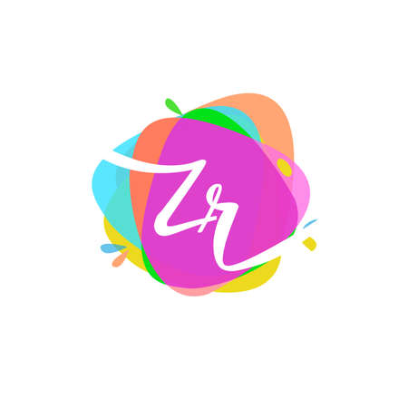 Letter ZR logo with colorful splash background, letter combination logo design for creative industry, web, business and company.