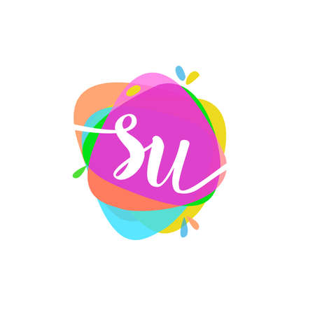 Letter SU logo with colorful splash background, letter combination logo design for creative industry, web, business and company.