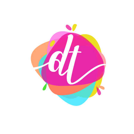 Letter DT logo with colorful splash background, letter combination logo design for creative industry, web, business and company.