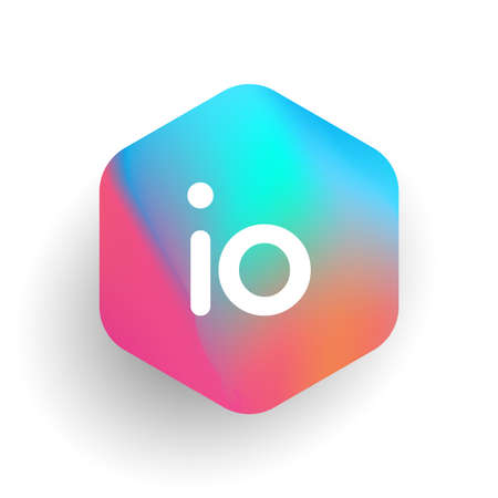 Letter IO logo in hexagon shape and colorful background, letter combination logo design for business and company identity. Ilustração