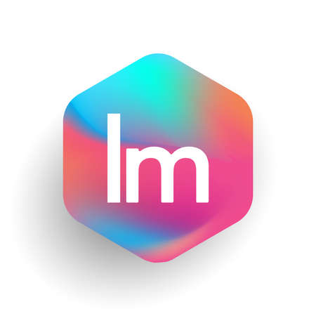 Letter LM logo in hexagon shape and colorful background, letter combination logo design for business and company identity.